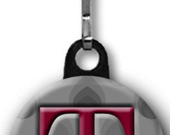 Personalized Zipper Pull with Maroon Initial on Grey Graphic