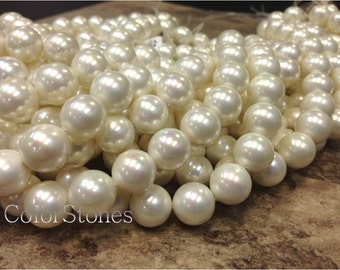 AA Grade South Sea Shell - Mother of Pearl - 12mm Smooth Round Beads 16 Inch strand - White (G4920R28Q3)