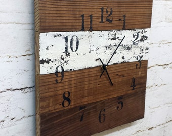 Wall Clock 14x14 Wood Clock Barnwood Rustic Primitive Shabby Cottage Chic Handmade Made in USA Christmas Gift