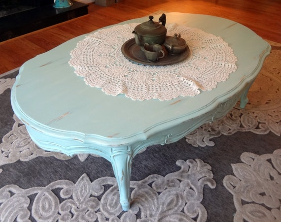 Aqua Blue Coffee Table Distressed Shabby Chic Furniture Home