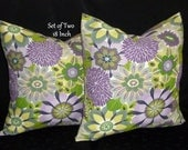 Decorative Throw Pillows / Cushion Covers, Set of Two 18 Inch - Lavender and Lime