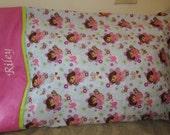 Dora The Explorer Pillowcase - Dora and Boots - Custom Embroidered Pillowcase - Pink Green White