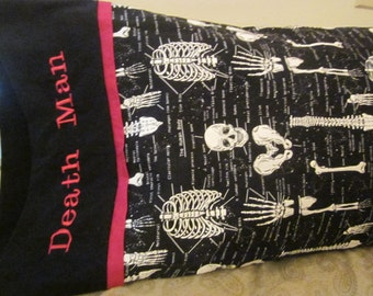 Skeletons - Custom Embroidered Pillowcase- Anatomy Lesson