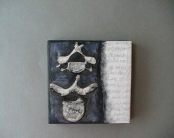 backbone - mixed media painting, spine art, vertebra, bones, wall art, goth art, dark art, mixed media collage, anatomy art, anatomical art