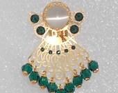 "Angel Pin / Brooch - ""Belinda"" - Emerald Green Swarovski Crystal Beads & Rhinestones,Gold Filigree"