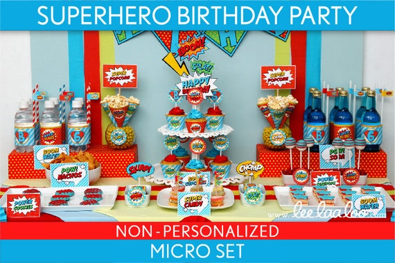 Superhero Birthday Party Package Collection Set Micro NonPersonalized Printable // Retro Superhero - B27Nz1