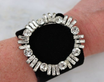 Rhinestone Statement Cuff Bracelet Velvet Circle From Reconstructed Vintage Jewelry