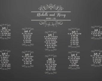 Chalkboard wedding seating chart board poster DIY 24 hour turnaround Blackboard Shabby chic