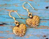 Gold Hearts . Earrings