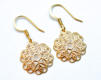 Gold Filigree Flowers . Earrings