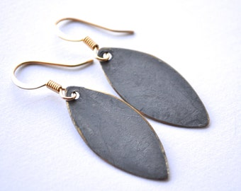 Grey Patina and Gold Marquise Drops . Earrings . Mara Collection