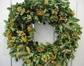 Dried Boxwood Wreath With Dried Yarrow And Wheat   Autumn Wreath   Autumn Elegance Wreath   Yarrow Wreath