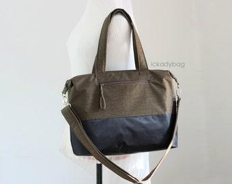 SALE - Brown / Black Diaper Tote Bag / Everyday bag Water-resistant & Waterproof Nylon / Messenger Bag / Shoulder bag / School - Yim for Mom