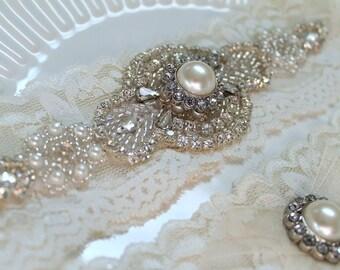 Bridal rhinestone pearl applique garter set. Ivory stretch lace crystal wedding garter. ROMANCE