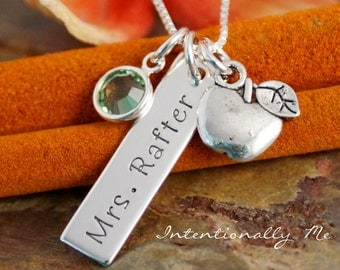 Personalized Jewelry -  Hand Stamped Teacher Necklace - Vertical Tag Necklace with Birthstone and apple charm