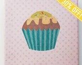 Clearance Sale - 3 Fabric wall art original designs - Pink pattern Cupcake set