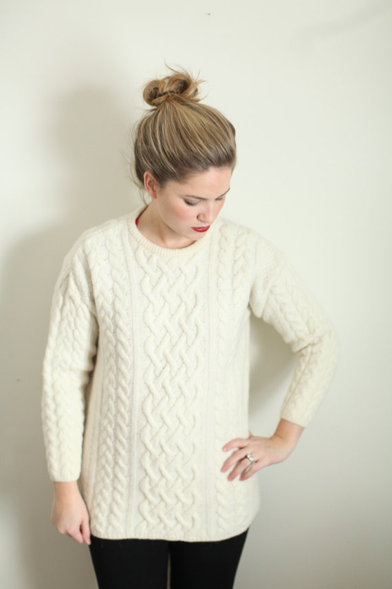 Aran Wool Cream Sweater
