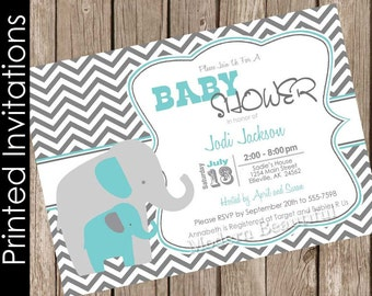 Gray and turquoise blue baby shower invitation elephant baby shower invitation baby boy baby shower  invitation(FREE ENVELOPES) ET01