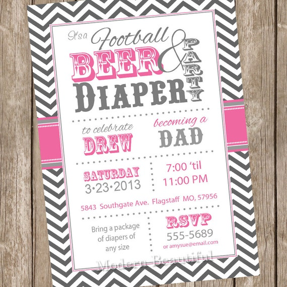football beer and diaper baby shower invitation pink and gray, Baby shower invitations