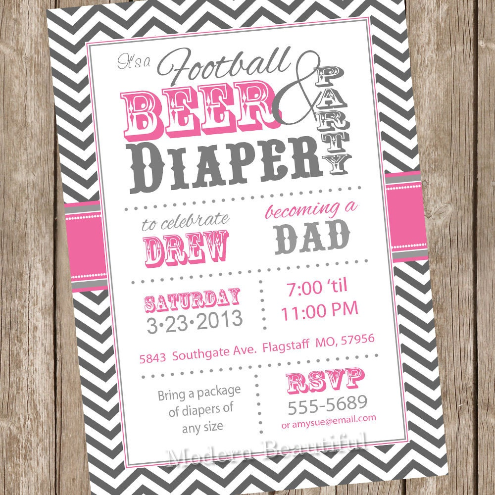 football beer and diaper baby shower invitation pink and gray