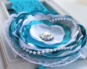 Turquoise white Headband silk flower over the top for newborn- baby girl- child- toddler-teen- adult