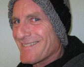 Men's Black and Gray Striped Winter Hat