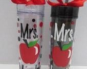 Personalized acrylic teacher tumbler - tall skinny, classic or mason jar style- great gift!