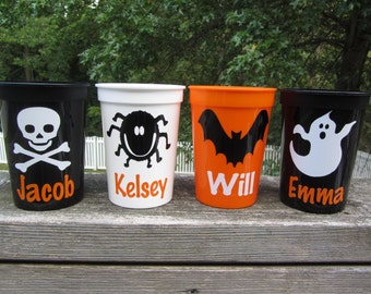 Personalized Halloween party cups - quantity of 6 - kids 12 ounce size - great party favors - reusable