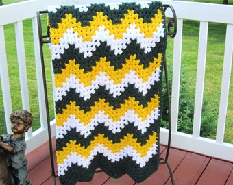 Green Bay Packers Cheesehead blanket afghan crochet ripple chevron gold green white ready to ship