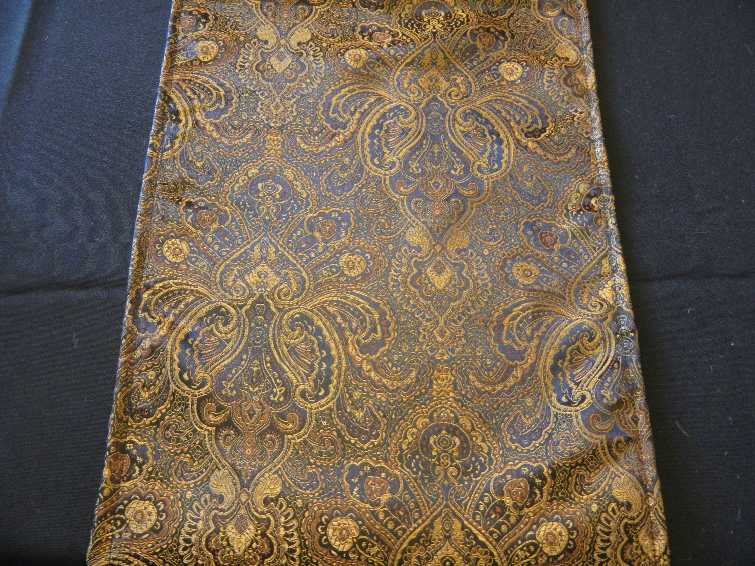 Damask Print Table Runner Black And Gold Damask Wedding