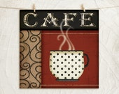 Cafe Coffee - 12x12 Art Print - Coffee Lover - Kitchen Gifts Wall Decor - Red Black Tan White