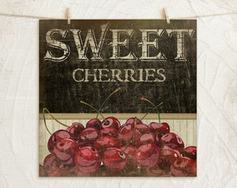 Sweet Cherries 12x12 Print -Kitchen, Vintage, Home, Wall Decor -Fresh Fruit Collection -Red, Green, Black, Tan, White