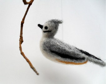 Needle felted bird Tufted titmouse ornament