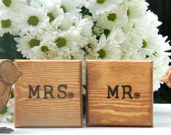 wedding ring boxes Ring Bearer Wedding set 2 boxes Wedding Ring Box MR&MRS bride and groom