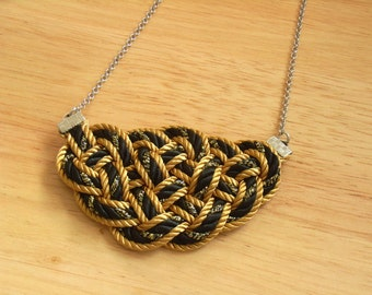 Necklace by Chinese Knot (Cloud Knot) - Gold, Black with gold fleck