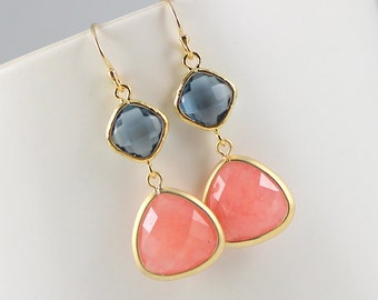 Coral and Navy Earrings Bridesmaid Earrings Coral and Navy Wedding Jewelry Peach and Sapphire Bridesmaid Gift Bridal Party