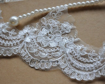 Iovry Alencon Lace Trim Luxury Wedding Lace Trim Embroidered Retro Lace Bridal Lace 4.7 Inches Wide 1 Yard
