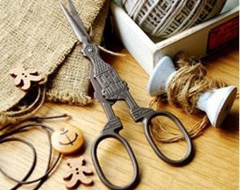 Antique Scissors For DIY Handmade Crafts Zakka Sewing Supplies Stainless Scissors Big Ben Clock 1 pcs