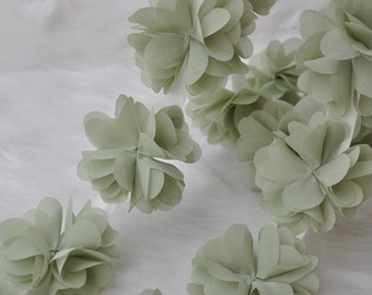 Green Chiffon Flower Lace Trim 14pcs Flowers