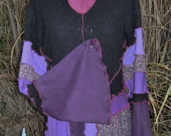Sweater cardigan wool blouse collar purple chill jumper butterfly gloves hood cap alternative recycled