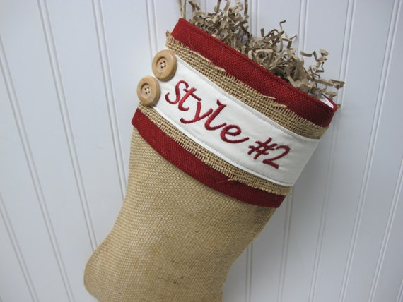 Burlap Personalized Christmas Stocking with red accents and 2 buttons - Style #2
