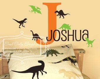Dinosaur name monogram vinyl decal set