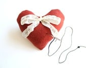Red Heart Pin Cushion / ring pillow pincushion . i love you sew much . lavender . walnut . gift for mom her