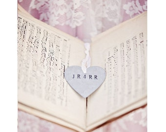 Personalized Tin Heart Ornament . galvanized metal gift tags. rustic wedding favors decor . shabby chic wedding decor