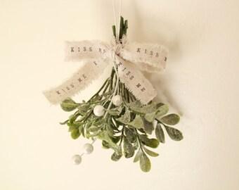 Rustic Christmas Mistletoe . mistletoe . Christmas ornament . white Christmas decor . ornament . unique gift . hostess gift stocking stuffer