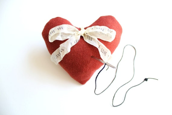 Lavender Sachet . Red Heart Pincushion / heart ring pillow alternative . heart shaped pin cushion .  gift for mom her . i love you