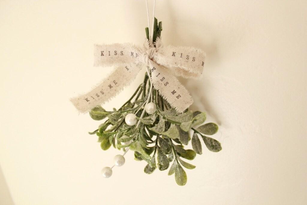 Rustic Christmas Mistletoe Ornament