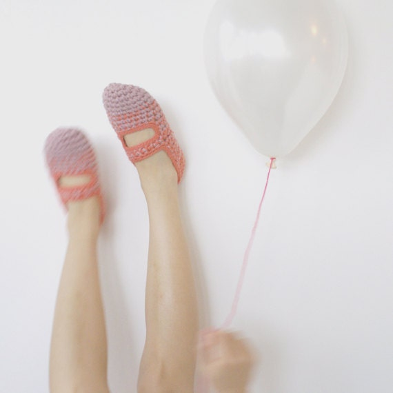 LAST PAIR! Apricot Sherbet: Women's Crochet Mary Jane Slipper Socks, Ready to Ship in size 7