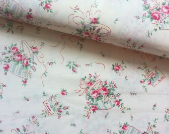 Japanese Cotton Fabric, Rose Fabric, Floral Fabric, Flower Fabric, Country Fabric, Yuwa Fabric, Quilting Fabric/Romantic Bouquet/a yard