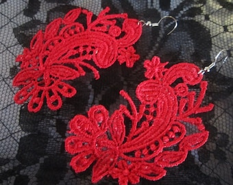 FREE SHIPPING Any Color Floral Venetian Lace Earrings Custom Color Red Green Blue White Yellow